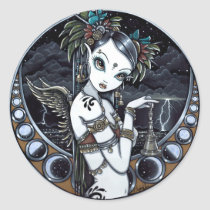 tribal, fusion, stickers, belly, dancer, angel, thunder, storm, lightning, city, scape, candels, singing, bowl, dance, gothic, henna, tattoo, fairy, jewerly, goddess, faery, fae, faerie, fairies, fantasy, melita, myka, jelina, art, middle eastern, Sticker with custom graphic design