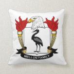Mellon Family Crest Throw Pillows