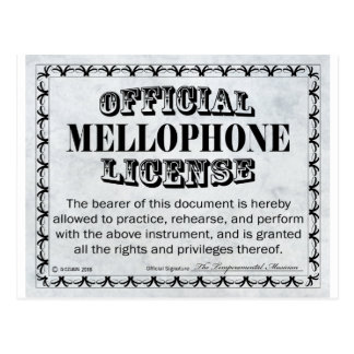Mellophone License Postcard