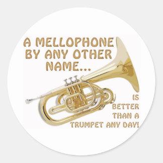 Mellophone por cualquier otro nombre pegatina redonda