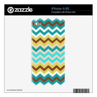 Mellow Blue and Yellow Zigzags Decals For iPhone 4