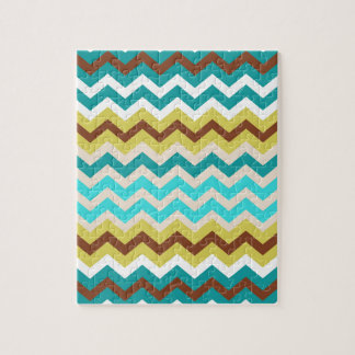 Mellow Blue and Yellow Zigzags Jigsaw Puzzle