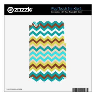 Mellow Blue and Yellow Zigzags Skins For iPod Touch 4G