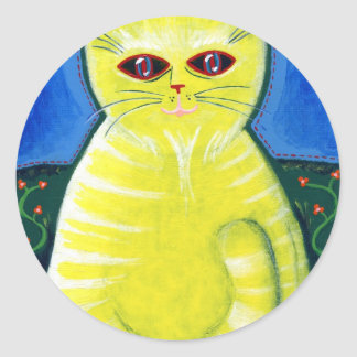Mellow Cat Classic Round Sticker