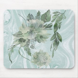 Mellow Floral Fantasy Moss and Sage Blue Mousepad