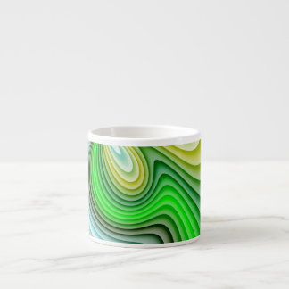 Mellow Yellow and Green Waves Espresso Cup