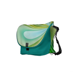 Mellow Yellow and Green Waves Small Messenger Bag