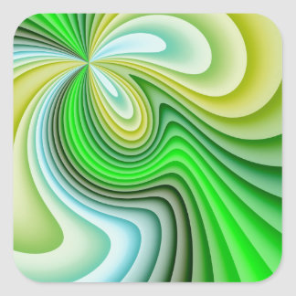 Mellow Yellow and Green Waves Square Sticker