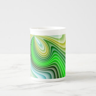 Mellow Yellow and Green Waves Tea Cup