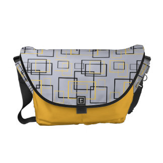 Mellow Yellow Designer Squares Messenger Bag