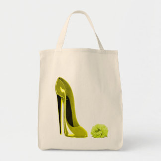 Mellow Yellow Stiletto Shoe and Rose Tote Bags