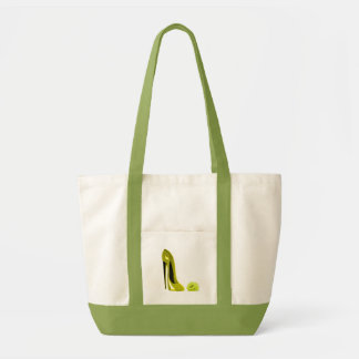 Mellow Yellow Stiletto Shoe and Rose Canvas Bags