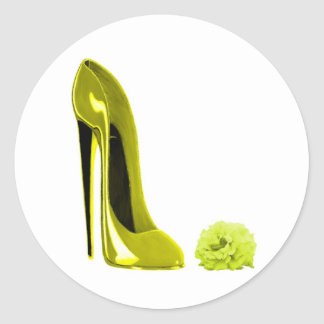 Mellow Yellow Stiletto Shoe and Rose Classic Round Sticker