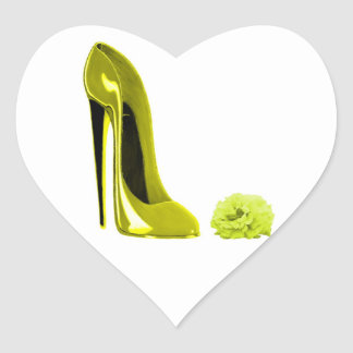 Mellow Yellow Stiletto Shoe and Rose Heart Sticker
