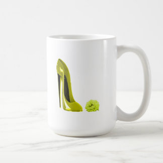 Mellow Yellow Stiletto Shoe and Rose Coffee Mugs