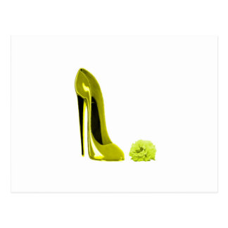 Mellow Yellow Stiletto Shoe and Rose Postcard