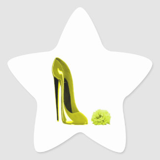 Mellow Yellow Stiletto Shoe and Rose Star Sticker
