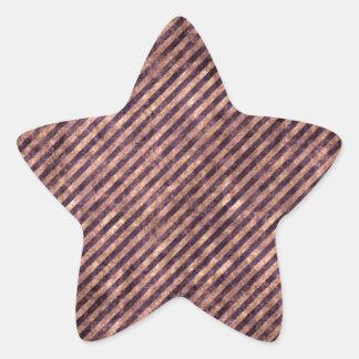 Melocotón abigarrado y rayas púrpuras pegatinas forma de estrellaes
