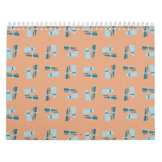 Melocotón abstracto del azul del modelo calendarios