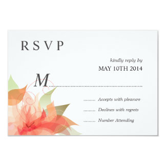 """Melocotón anaranjado de lujo de RSVP floral Invitación 3.5"""" X 5"""""""