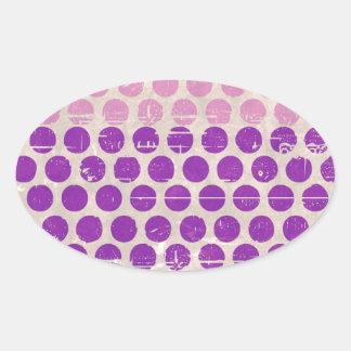Melocotón blanco rosado púrpura de los lunares del calcomanía de ovaladas