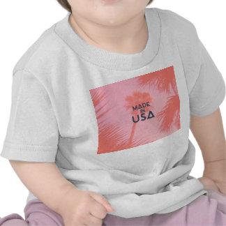 Melocotón brillante de la palmera de moda hecho en camiseta