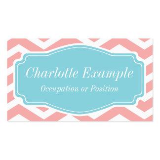Melocotón Chevron azul blanco rosado personal Tarjetas De Negocios