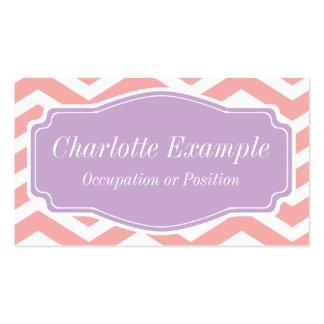 Melocotón Chevron púrpura blanco rosado personal Plantillas De Tarjeta De Negocio