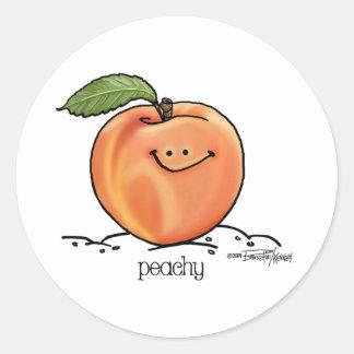 Melocotón con sabor a fruta - dibujo animado pegatina redonda