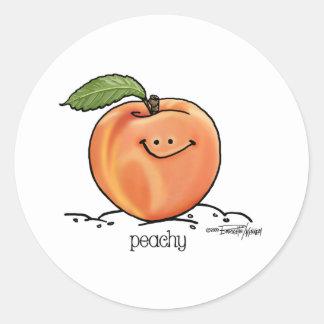 Melocotón con sabor a fruta - dibujo animado etiqueta redonda