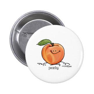 Melocotón con sabor a fruta - dibujo animado pin redondo de 2 pulgadas