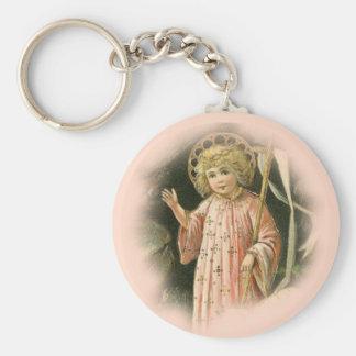 Melocotón con túnica de Jesús del niño de Cristo Llavero Redondo Tipo Pin
