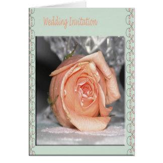 Melocotón de la invitación del boda subió tarjeta pequeña