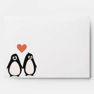 melocotón del amor/de los corazones del pingüino d sobres