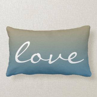 Melocotón del azul de la puesta del sol del amor cojín