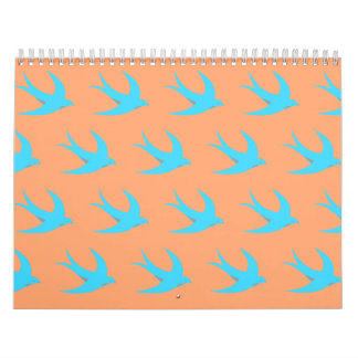Melocotón del azul del modelo del pájaro de vuelo calendarios