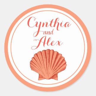 Melocotón del boda de playa del Seashell de la Pegatina Redonda