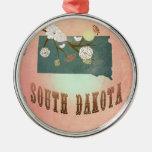 Melocotón del pastel del mapa del estado de Dakota Ornamentos Para Reyes Magos