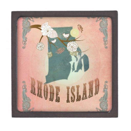 Melocotón del pastel del mapa del estado de Rhode  Caja De Joyas De Calidad