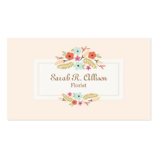 Melocotón del ramo floral del florista tarjetas personales