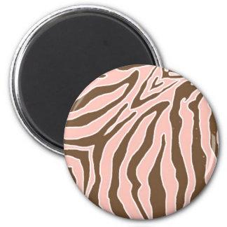 Melocotón e imanes del estampado de zebra de Brown Imán Redondo 5 Cm