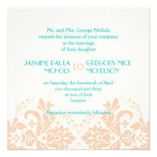 Melocotón elegante del damasco aguamarina boda d comunicados personales
