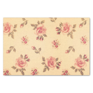 Melocotón elegante lamentable del victorian floral papel de seda pequeño