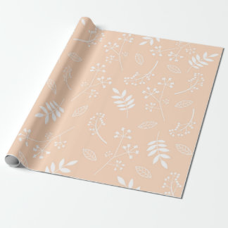 Melocotón floral botánico del pastel del verdor de papel de regalo