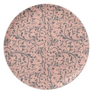 Melocotón, modelo gris del Flourish Plato De Comida
