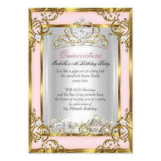 """Melocotón rosado del décimo quinto cumpleaños de invitación 5"""" x 7"""""""