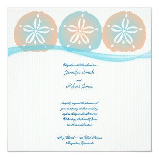 Melocotón y boda de playa azul de los dólares de