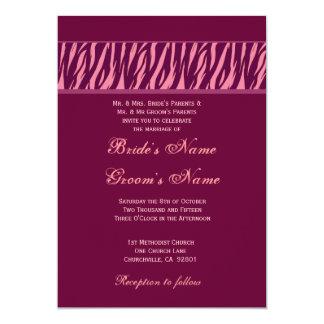 """Melocotón y boda del estampado de zebra de Borgoña Invitación 5"""" X 7"""""""