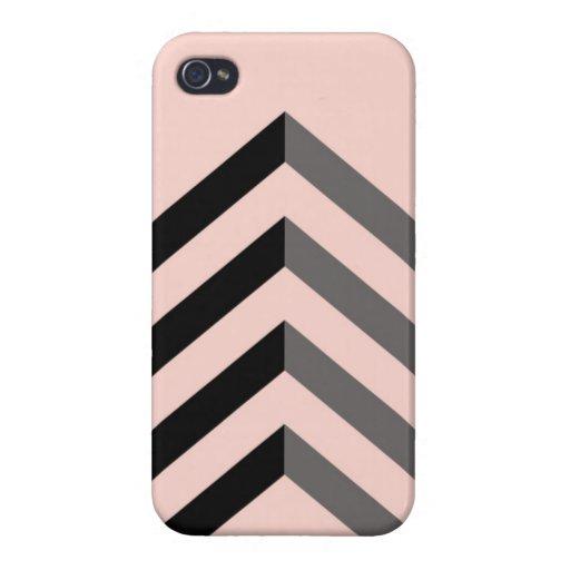 Melocotón y caso negro del iPhone 4/4S de Chevron iPhone 4 Cárcasas
