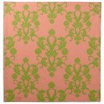 Melocotón y damasco del verde verde oliva servilleta imprimida